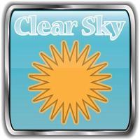 dag väder ikon med text klar himmel
