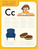 alfabetet spåra kalkylblad med bokstäver och ordförråd