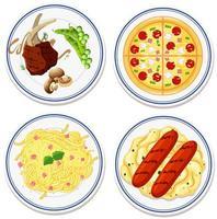 Luftaufnahme von Lebensmitteln auf Teller