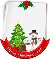 blankt papper med god jul 2020 teckensnittslogotyp och snögubbe vektor