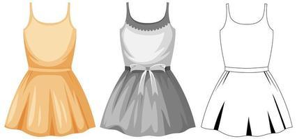 Satz weibliches süßes Kleid vektor