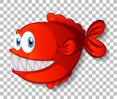 rote exotische Fischkarikaturfigur auf transparentem Hintergrund