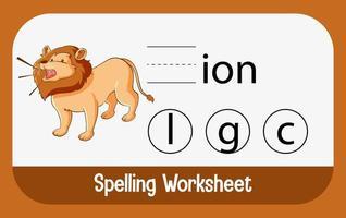 Finde den fehlenden Brief mit dem Löwen vektor