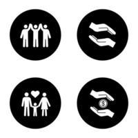 välgörenhet glyph ikoner set
