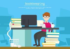 Bokföring i kontorsillustrationen