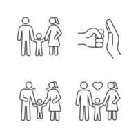 uppsättning linjära ikoner för vårdnad av barn vektor