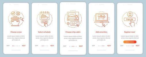 onlinekryssningsbokning ombord på mobilappsskärmen vektor
