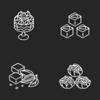 traditionella sötsaker krita vita ikoner set vektor