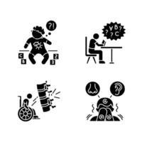 kronisk sjukdom svart glyph ikoner set