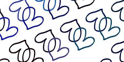 blå bakgrund med söta hjärtan.