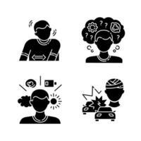 psykiska problem svart glyph ikoner set vektor