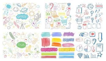 uppsättning färgglada objekt och symbol handritad klotter på vit bakgrund vektor