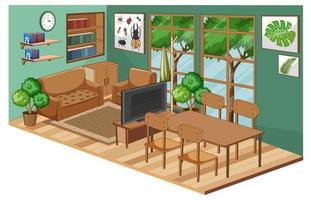 vardagsrumsinredning med möbler och grön vägg