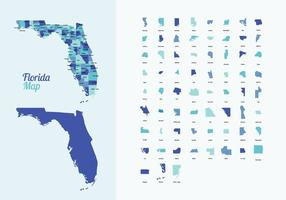 Florida Karte mit Counties Vektor