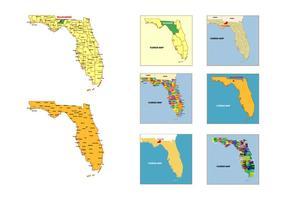Florida Karte Vektor Pack