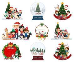 Satz leere Weihnachtspostkarte und Logo isoliert