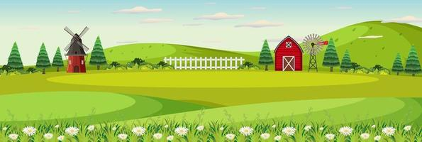 gårdlandskap med åker och röd ladugård under sommarsäsongen vektor