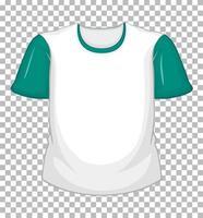 leeres weißes T-Shirt mit grünen kurzen Ärmeln auf transparentem