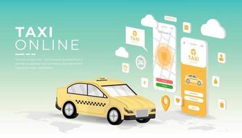 mobilapplikation för taxi online vektor