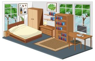 sovrumsinredning med möbler i modern stil