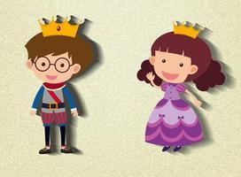 kleine Prinz und Prinzessin Zeichentrickfigur vektor
