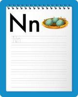 alfabetet spårning kalkylblad med bokstaven n och n