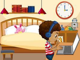 Ein Junge kommuniziert eine Videokonferenz mit Freunden in der Schlafzimmerszene vektor
