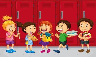 barn som pratar med sina vänner med bakgrund i skolskåp vektor