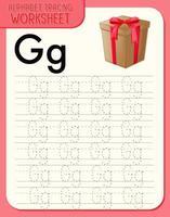 alfabetet spåra kalkylblad med bokstaven g och g