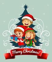 god julstilsort med barn som bär juldräkt på grön bakgrund vektor