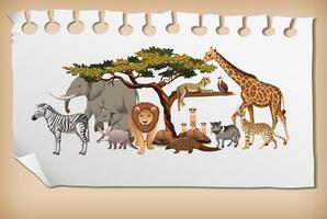 grupp av vilda afrikanska djur på papper