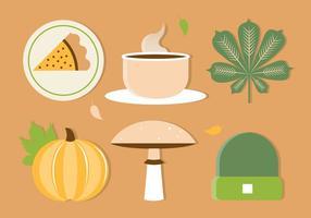 Free Flat Design Vektor Herbst Elemente und Icons