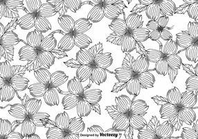 Vector NAHTLOSES Muster der Hartriegel-Blüte