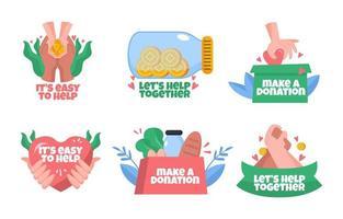 Normalisieren Sie helfende Hände und Spenden vektor
