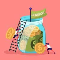 gegenseitige Zusammenarbeit bei der Spendenbeschaffung vektor