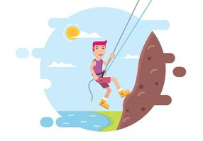 Rappelling Down A Cliff Vector Design
