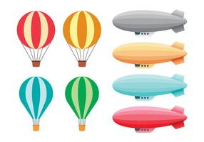 Heißluftballons und lenkbare Vektoren