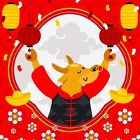 kinesiskt ox nytt år bakgrund vektor