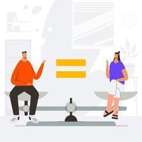 Gleichstellung von Mann und Frau für das Menschenrechtskonzept vektor