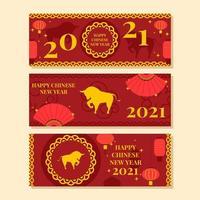 röd och guld ox år banner vektor
