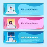 Banner für die Arbeit von zu Hause aus vektor