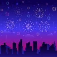 blaues Feuerwerk mit Stadtsilhouette vektor