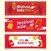 moderna banners för kinesisk nyårsfestivalförsäljning vektor