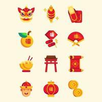 festlig av kinesiska nyårsikonsamlingen vektor