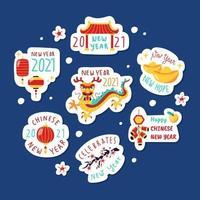 klistermärke för kinesiskt nyår vektor