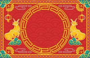 festligt lyckligt kinesiskt nytt år av oxens bakgrund vektor