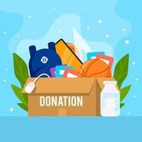 Flat Donation Zeug zur Unterstützung und Sensibilisierung vektor