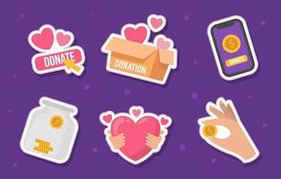 süße Spendenaufkleber Sammlung vektor