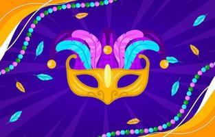 bunte Karnevalmaske und Perlenhintergrund
