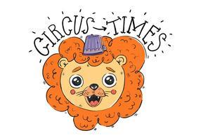 Netter Löwe mit lila Zirkus-Hut lächelnd und Zirkus-Zitat